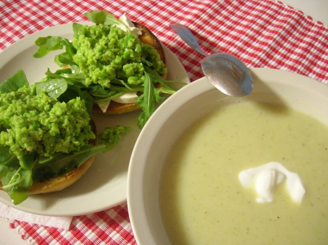 Jamie Oliver's Smashed Peas & Favas on Toast; cool and creamy Vichyssoise