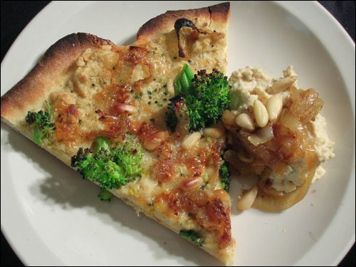 Hummus Pizza w/broccoli, pine nuts, and caramelized onions