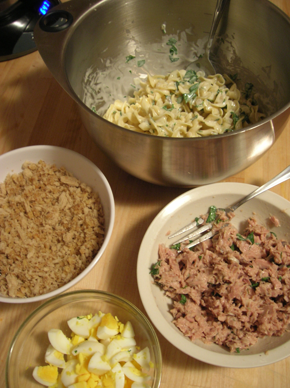 Noodles, Tuna, Hard-boiled Eggs and Bread Crumb Topping