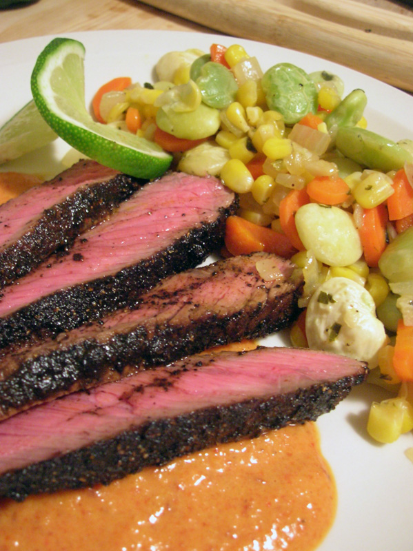 Coffee-Rubbed London Broil, Smoked Red Pepper Sauce, Succotash