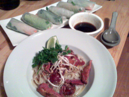 Smoked Duck Pho, Vegetable Summer Rolls w/Chili-Soy Dipping Sauce
