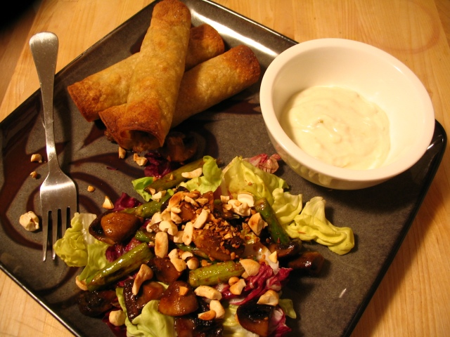 Turkey Verde Taquitos, Roasted Cremini Mushroom and Asparagus Salad