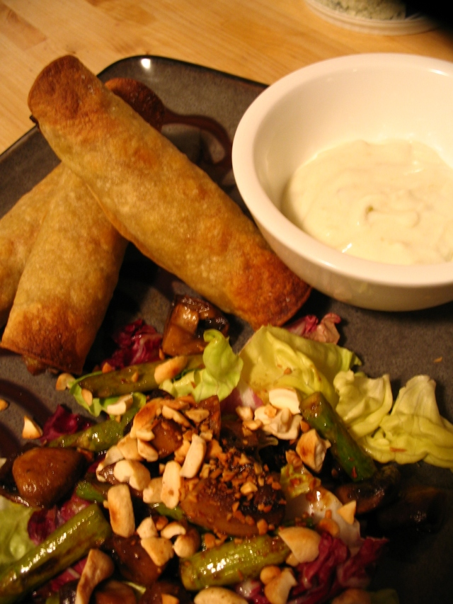 Turkey Verde Taquitos, Roasted Cremini Mushroom and Asparagus Salad (2)